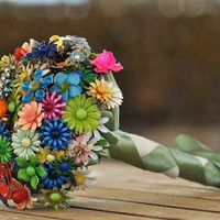 Micro Wedding Brooch Bouquet  Bright colored by LionsgateDesigns