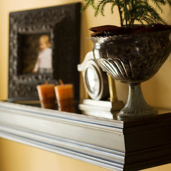 Beautiful Wall Shelf with Mirror dark walnut finish