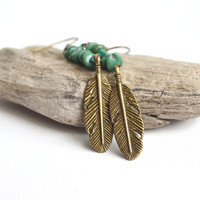 Turquoise Earrings with Detailed Feather Charm, Hanging Long Earrings, Hippie Feather Earrings