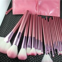 22pcs Professional Cosmetic Makeup Brush Set with Pink Bag Pink
