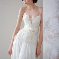 Sheath v-neck lace off-the-shoulder wedding dresses PWD025