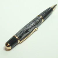 Black Lava Gatsby Grande 24k Gold Plating Twist Pen