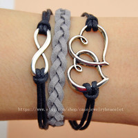 Infinity bracelet  heart bracelet with leather woven black cotton ropes cuff bracelet sliver infinity heart to heart  for gifts   A-3