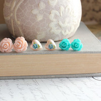 Flower Post Earrings, Stud Earrings, Teal Blue Rose, Pale Pink, Turquoise, Heart Studs, Vintage Style, Shabby Chic, Romantic, Three Pairs