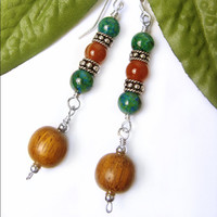 Long Dangles Jasper Agate Wood, Sterling Silver, Handmade Earrings