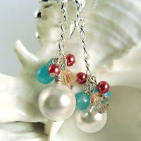 Pearl Cluster Earrings, Pink Crystals and Blue Beads