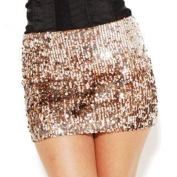 Distressed Sequin Miniskirt by AKIRA