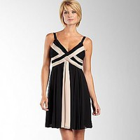 JCPenney : Criss Cross Draped Chiffon Dress-Black/Cream