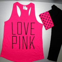 Victoria's Secret Pink Yoga leggings & Logo tank set Polka dots set  M