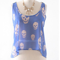 Blue Skies &amp; Happy Skulls Lace Crop Top