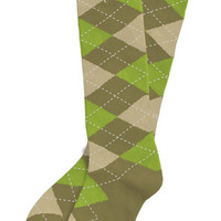 Argoz Socks Commando Knee High Argyle Socks Army Green Khaki Light Olive