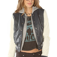 Obey Jacket Varsity Lover in Navy Cream