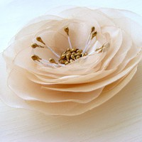 Ivory Organza Flower Wedding Bobby Pin by MissGlory on Etsy