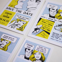 The Comic Strip - Unique Wedding Invitation Suite - (PRINTABLE) - Set Of 4