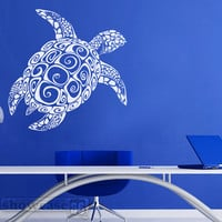Large Sea Turtle  - Vinyl Wall Art - FREE Shipping - Fun Under Sea Wall Decal -