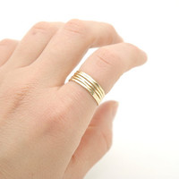 Shiny Polished Raw Brass Hammered Thin Stack Ring , Skinny Stacking Rings Set of 5 - Simple Modern Minimal Rings - Mother's Day