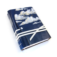 Hand Painted Leather Journal / Diary / Notebook - Blue Sky - OOAK