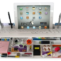 White USB Restt Computer Keyboard - 6 Products in ONE! iPad, Tablet Stand, Pen Stand, iPhone, cell phone Stand, More..