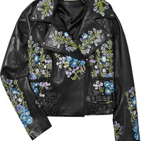 Christopher Kane | Embroidered leather biker jacket | NET-A-PORTER.COM