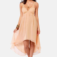 Ladakh Swansten Studded Beige Dress