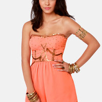 Ladakh Diamond Heart Strapless Coral Romper