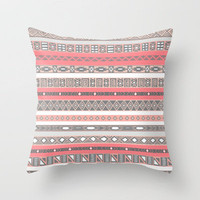 Aztec Print Peach Rose Salmon Grey Throw Pillow by RexLambo | Society6