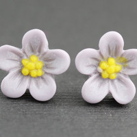Flower Stud Earrings : Purple Flower Stud Earrings, Sterling Silver Plated Earring Posts, Simple, Fun, Matte