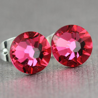 Swarovski Stud Earrings : July Birthstone Indian Pink Swarovski Crystal Stud Earrings, Sterling Silver Plated Earring Posts