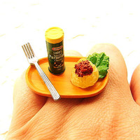 Kawaii Food Ring Pasta And Cheese Miniature by SouZouCreations