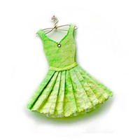 Spring Green Fashion Paper Dress Paper Art by kellbellestudio