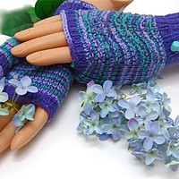 CUSTOM PreOrder Fingerless Gloves PurpleTurquoise by JanetLongArts