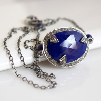 Bezel Set Lapis Necklace, Lapis Pendant Necklace, Oxidized Silver Necklace