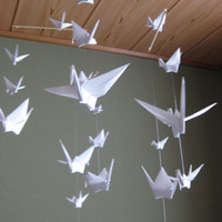 $36.00 Origami Crane Mobile  Pure White by makikomo on Etsy