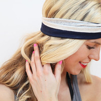 Turban Stretch Headband in Navy Blue and White Lace Stripes