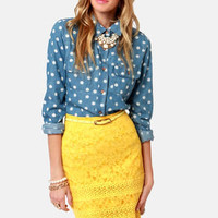 Sittin' Pretty Yellow Lace Pencil Skirt