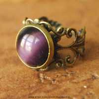 Purple Cat's Eye Lace Adjustable Ring