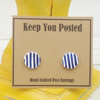 Hand Painted Navy Blue and White Striped Stud Earrings Handmade Gift | KeepYouPosted - Jewelry on ArtFire