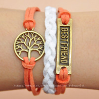Best friend bracelet tree bracelet with soft leather woven cuff bracelet bronze best friend ,tree for gifts,infinity bracelet    A-5