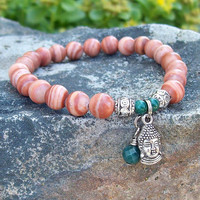 Tibetan Buddha Charm Meditation Bracelet                 - Red Malachite Beaded Stretch