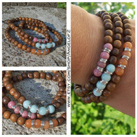 Beaded Gemstone and Wood Stretch Boho Stacker Bracelets - Orange, Pink, Blue - Chakra Bracelets