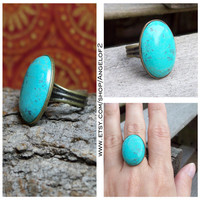 Large Turquoise Cabochon Adjustable Bronze Ring
