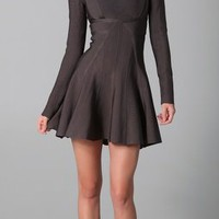 Herve Leger Long Sleeve Dress with A Line Skirt | SHOPBOP