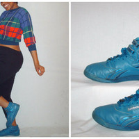 Vintage Reebok Freestyle Hi Tops Blue sz 10