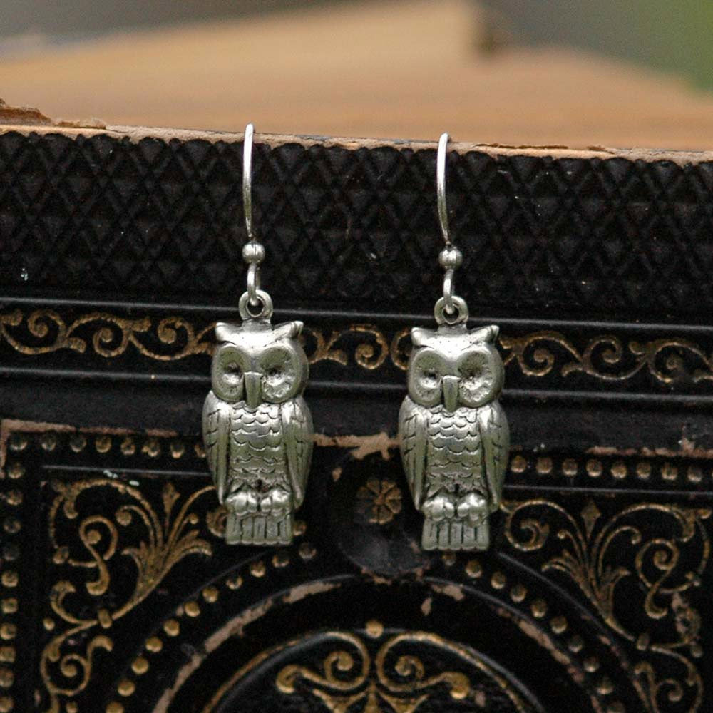 Silver Retro Owl Earrings - RagTraderVintage.com