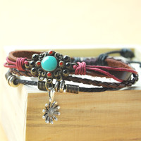 Handmade Leather Bracelet- Sun Flower