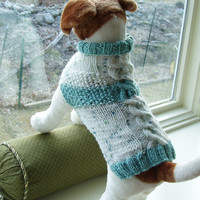 Dog Sweater Hand Knit Seafoam Cable & Seed Stitch Medium by jenya2