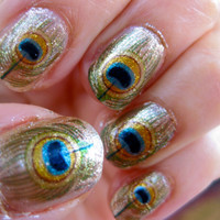 GODDESS OF LOVE Oshun Nail Decals Peacock Feathers by chachacovers