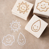 nice weather wooden rubber stamp set by eatpraycreate on Etsy