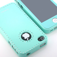 Gnj Premium Mint cubic silicone case cover+Mint film for iPhone 4 4S 4G