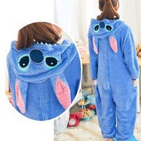 Cute Unisex Animal Hoodie Kigurumi Couple Pajamas Cosplay Costume Onesuit Blue L